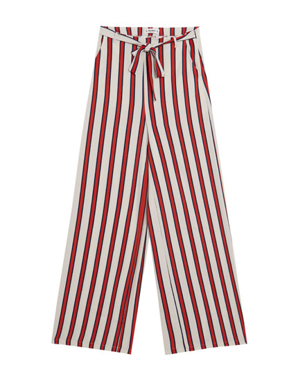 Printed wide-leg trousers with belt