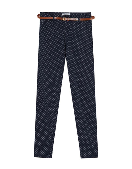 Cotton chino trousers with a belt