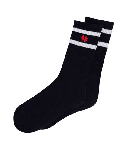 Socks with embroidered broken heart
