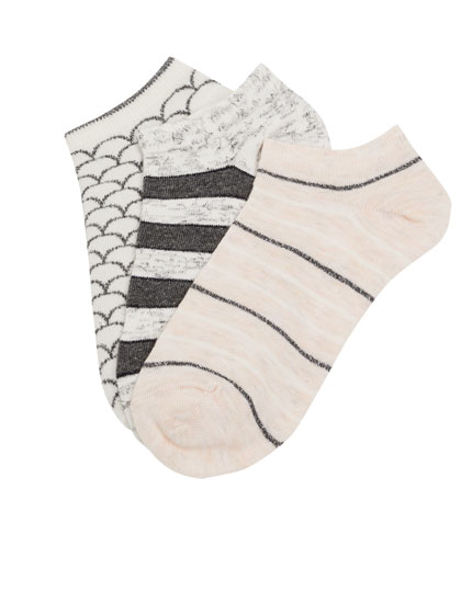 Pack of 3 striped and scales socks