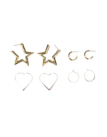 Pack of star and heart-shaped hoop earrings