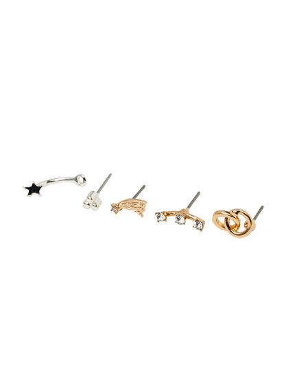 Pack of star and hoop earrings