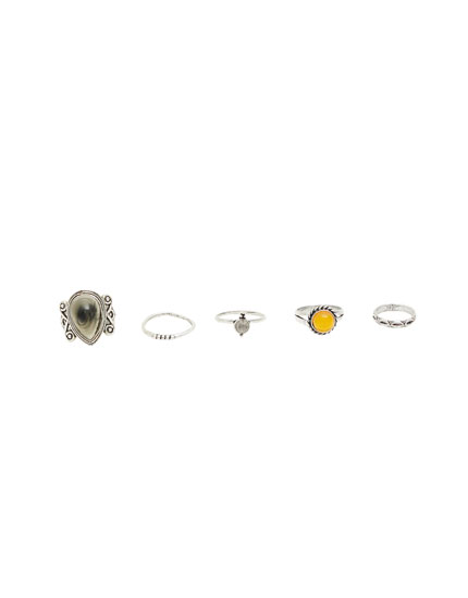 Pack of stone and amber rings