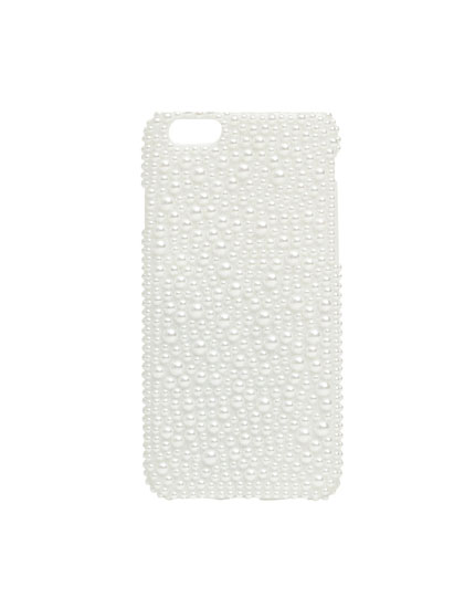 Mobile phone case embellished with pearl beads