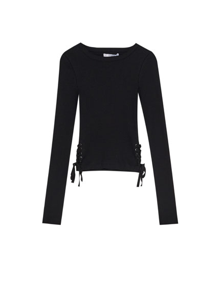 Basic T-shirt with lace-up corset-style sides