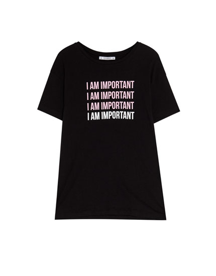 Short sleeve T-shirt with a slogan