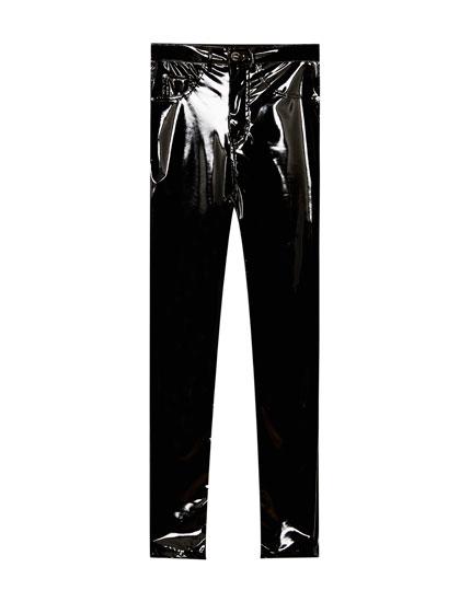 High waist vinyl trousers