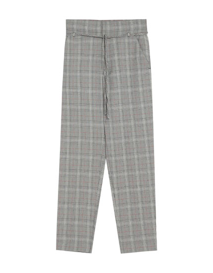 Checked tailored trousers with red stripes