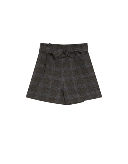 Tailored checked shorts