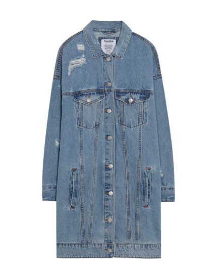 Long ripped denim jacket