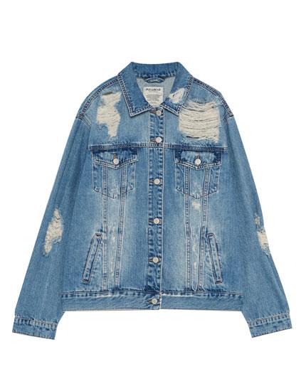 Ripped denim girlfriend jacket
