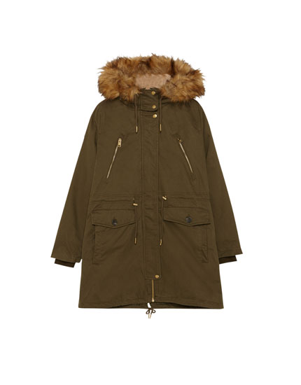 Lined parka with faux fur hood