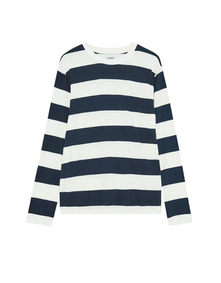 Long-sleeve striped T-shirt