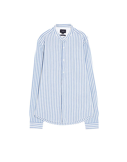 Striped long sleeve shirt with stand-up collar