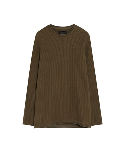 Waffle-knit sweatshirt