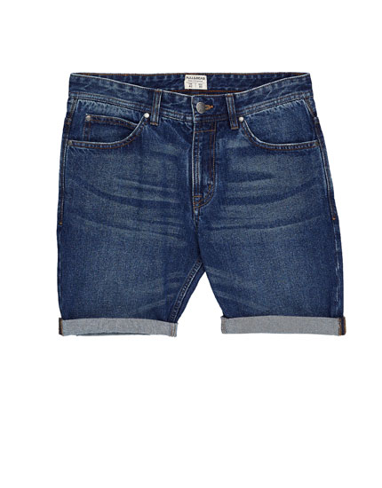 Basic slim fit denim Bermuda shorts