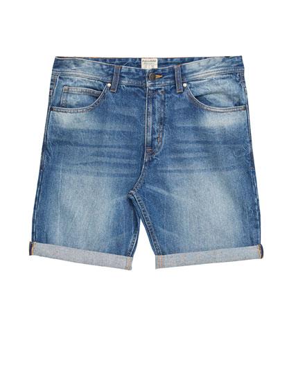 Basic denim slim fit Bermuda shorts