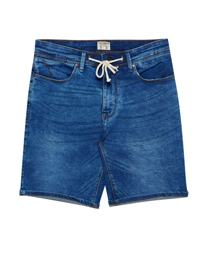 Medium blue denim Bermuda shorts