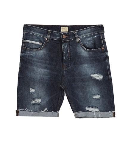 Ripped slim fit denim bermuda shorts