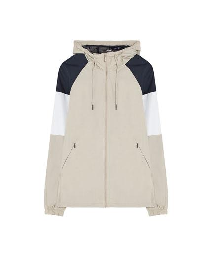 Hooded colour block jacket.