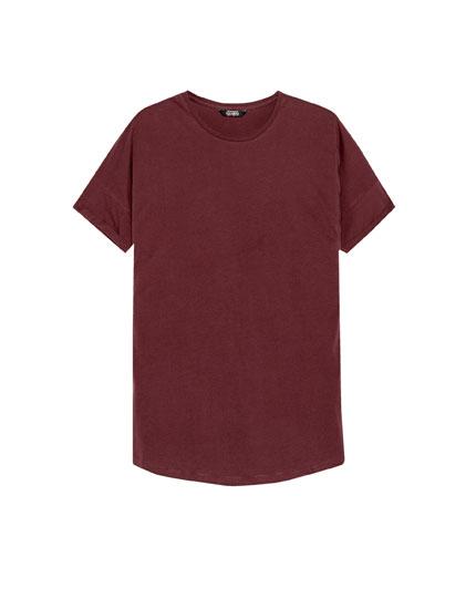 Long fit T-shirt with uneven hem