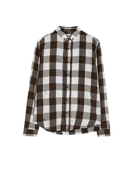 Chequered shirt with rips