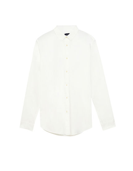 Solid-coloured twill shirt