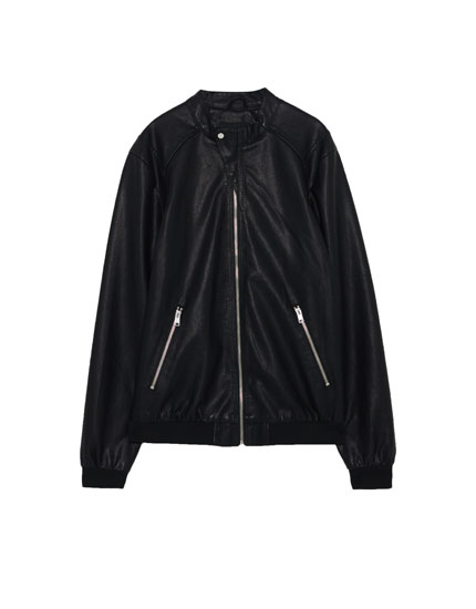 Ribbed faux leather jacket