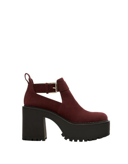 Platform ankle boots with track soles