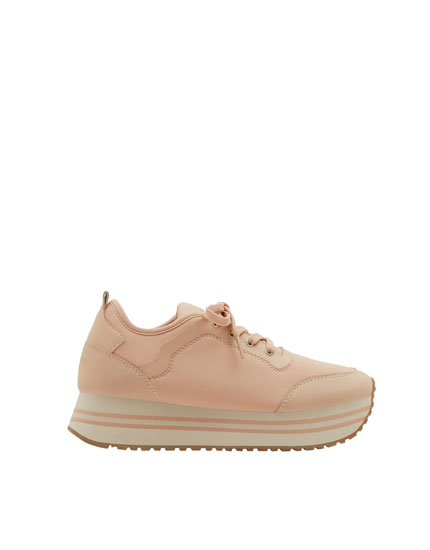 Pink chunky sole fashion sneakers