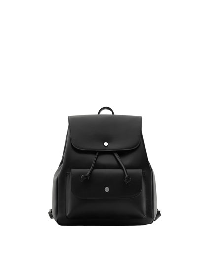 Black backpack with buttons detail
