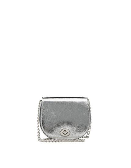 Laminated mini crossbody bag.