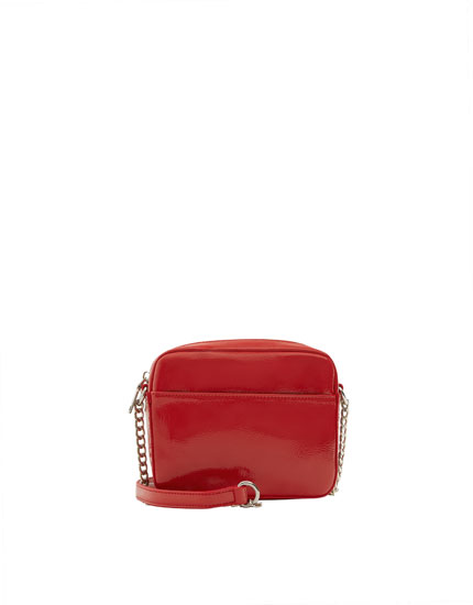 Mini red faux patent leather crossbody bag