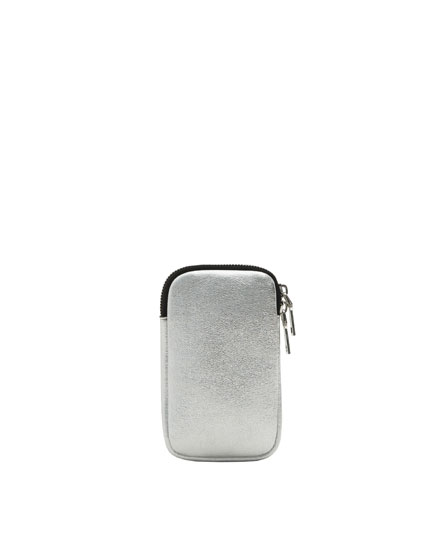 Metallic silver mobile phone pouch bag