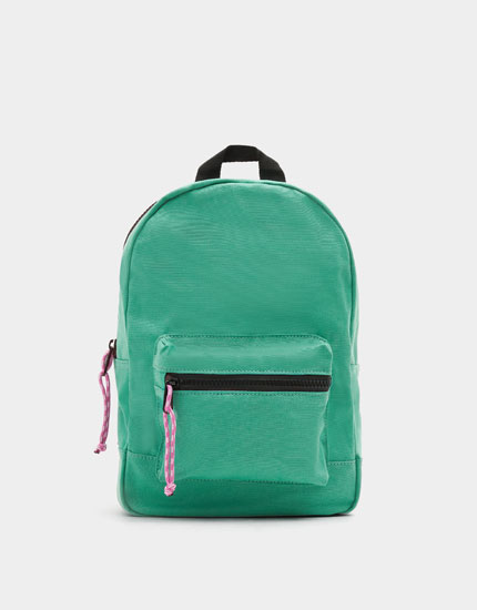 Turquoise backpack with contrasting zip