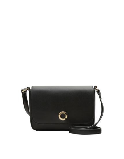 Mini black crossbody bag with round clasp