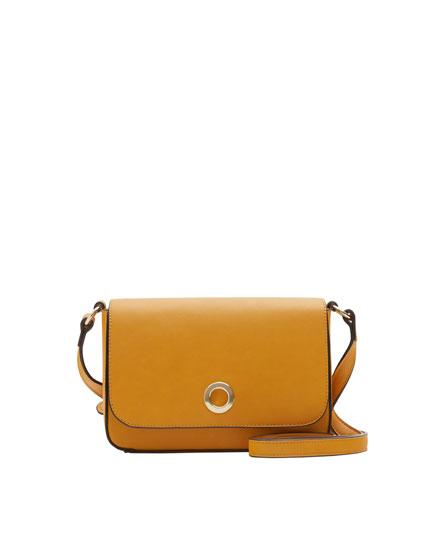 Mini mustard yellow crossbody bag with round clasp