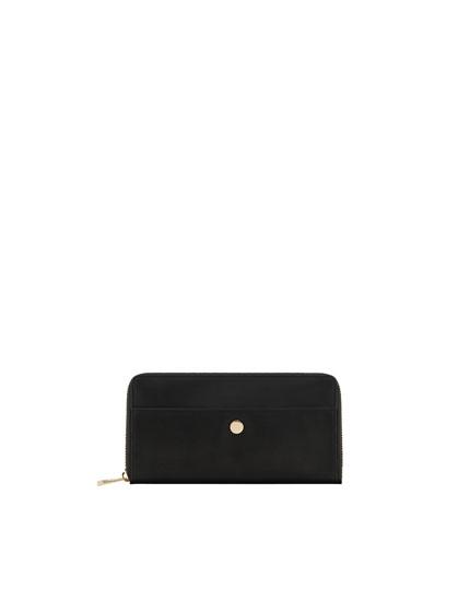 Black wallet with metallic detail