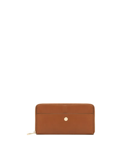 Brown wallet with metallic detail