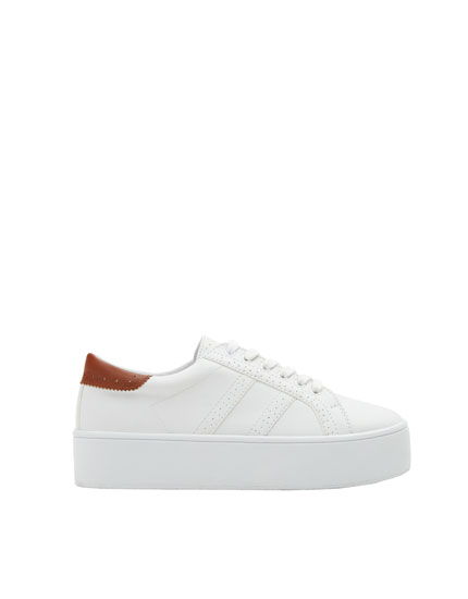 Chunky sole sneakers with broguing