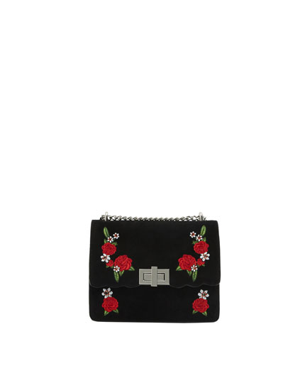 Embroidered mini crossbody bag
