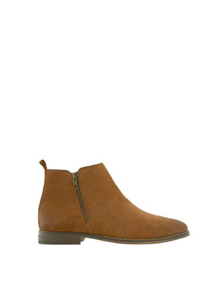 Zip-up split suede ankle boots