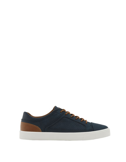 Blue urban sneakers with leather heel piece