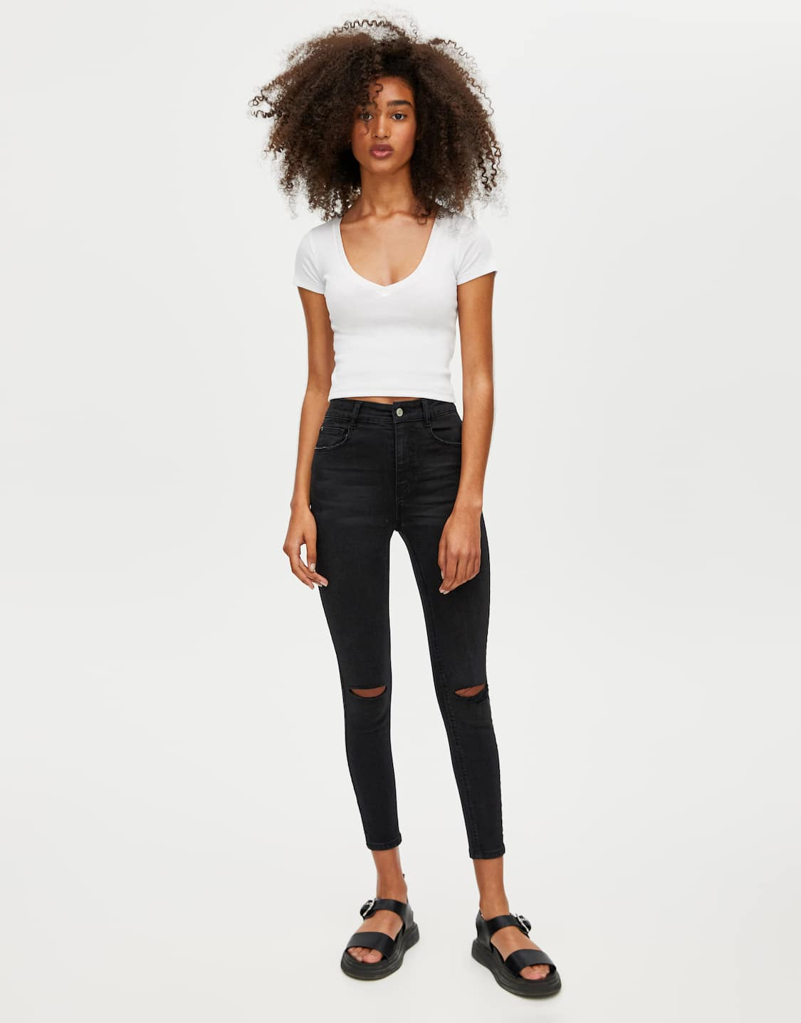 la moda più votata negozio online speciale per scarpa Jeans skinny fit capri a vita alta