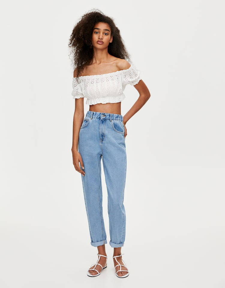 6d3ed3ddf31a Mom jeans with elastic waistband , BLUE