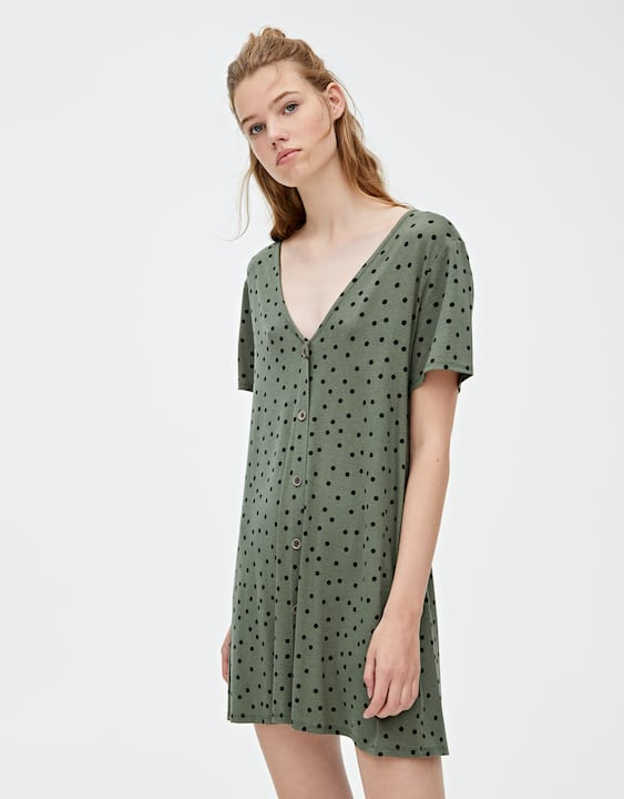 d850db0aee4 Short sleeve mini dress with buttons - PULL&BEAR
