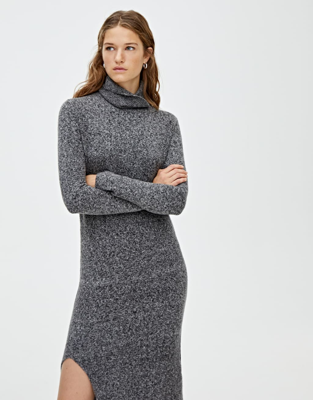 Long Knit Dress With Slit by Pull & Bear