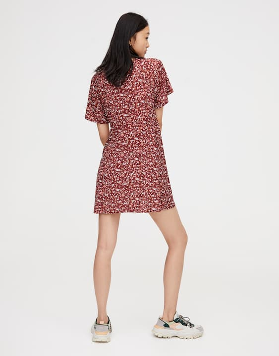 Printed midi dress knotted at the waist