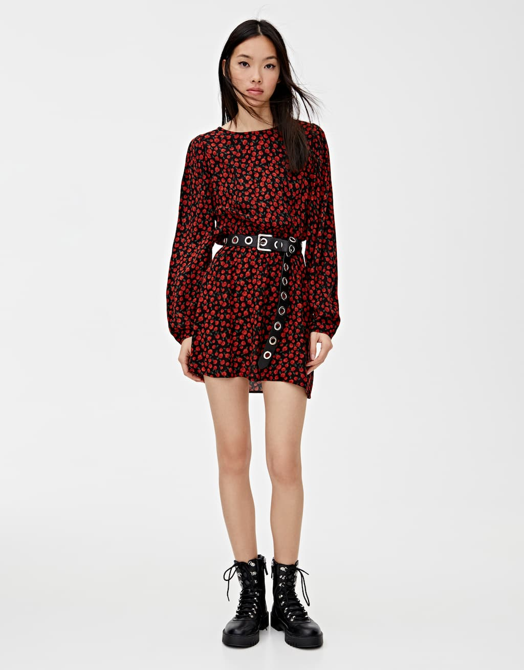 Robe Imprimée Manches Bouffantes by Pull & Bear