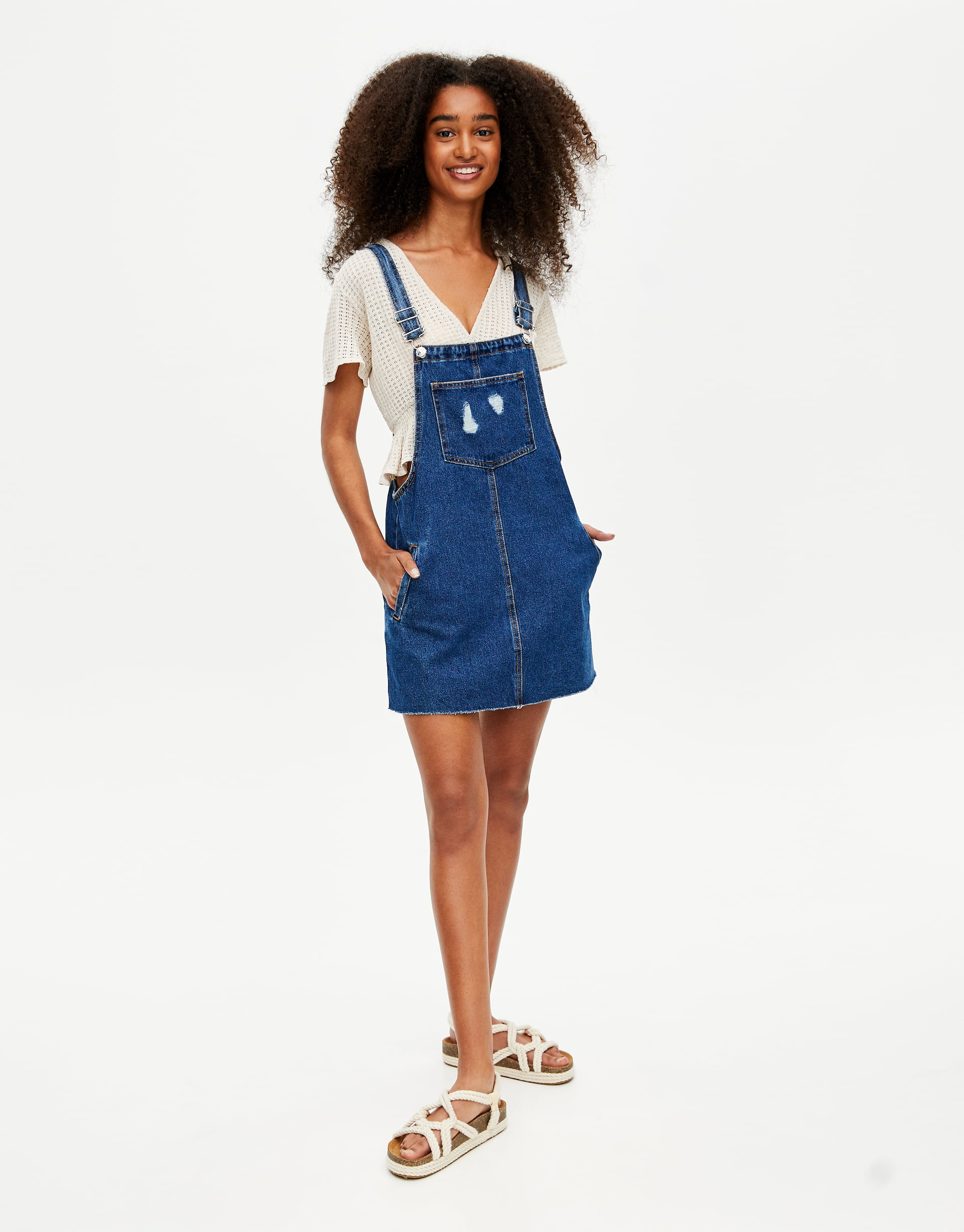 rich and magnificent online for sale numerousinvariety Denim pinafore dress with pockets
